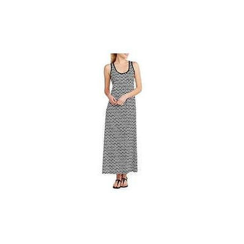 Recreation Women's Chevron Stripe Essential Tank Maxi Dress, Black/White, XXL