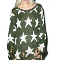 Wildfox Couture Seeing Stars Lenon Sweater   Dolls Kill
