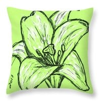 Green Lily Throw Pillow