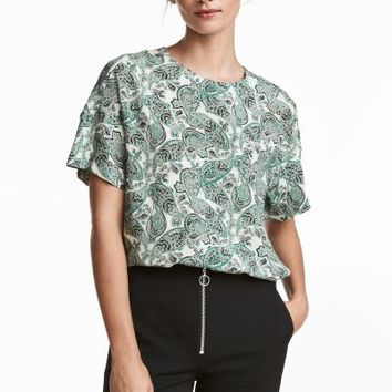 Crêpe top - White/Paisley - Ladies | H&M GB