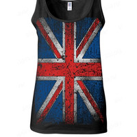 Womens Distressed British UK Union Jack Flag Tank Top Many Colors and Sizes!  Graphic Tank Top