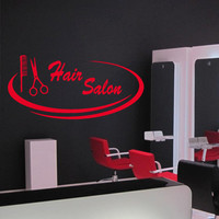 Wall decal decor decals art hair salon beauty comb scissors inscription hairdresser stylist hairstyle (m951)