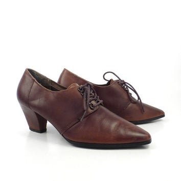 Oxford Leather Shoes Brown Vintage 1980s Rush Hour Heeled Women's size 6 1/2