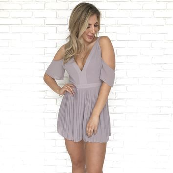 Pleats Say You Love Me Off Shoulder Romper