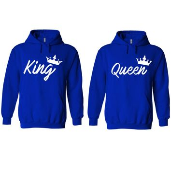 Handwrite King and Queen Royal Blue Hoodie