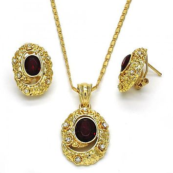 Gold Layered 10.160.0113 Necklace and Earring, with White and Garnet Crystal, Polished Finish, Golden Tone