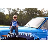 FAN PHOTO Any Number Navy and Grey Raglan with royal blue number Birthday Shirt sunglasses  Monster Truck