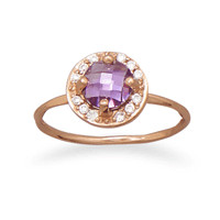 14 Karat Rose Gold Plated Purple Cubic Zirconia Ring