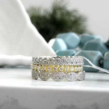Art Deco Bridal Set Ring-Mix & Match Ring Set- Eternity Wedding Ring Sterling Silver with CZ Stones-Yellow Gold Plated Cz Full Eternity Band