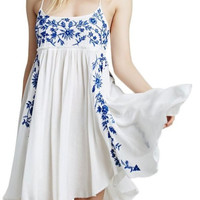 White & Blue Floral Embroidered Mini Dress