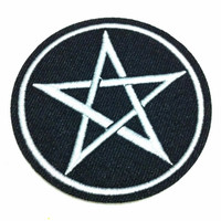 Five Star (6.5 x 6.5 cm) Punk Rock Embroidered Iron on Applique Patch (B)