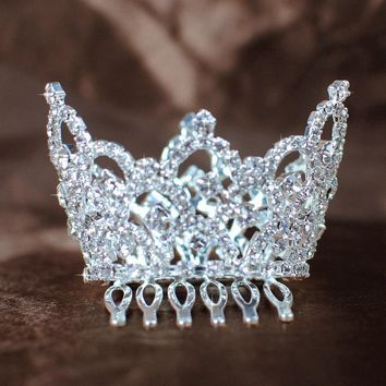 Mini Children's Crowns Austrian Rhinestones Kids Tiaras with Hair Combs Clear Crystal Pageant Prom Birthday Party