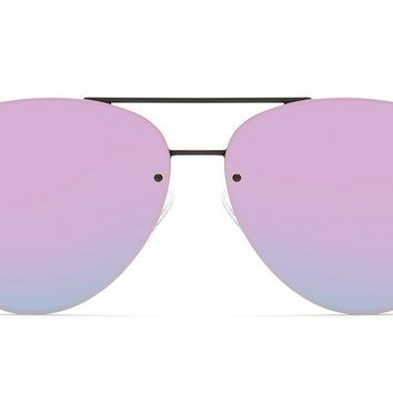 Quay - Cool Innit Black Sunglasses / Purple Mirror Lenses