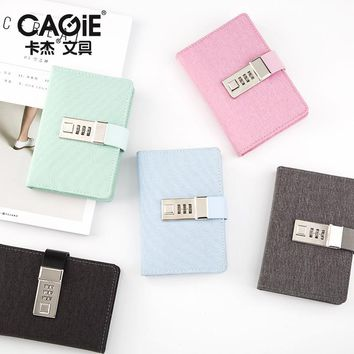 CAGIE Cute a7 Notebook Kawaii Cloth Cover Pocket Sketchbook Mini Planner Persoanl Diary With Lock Agenda School Filofax