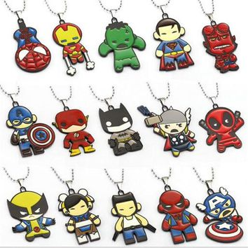 Avengers Necklaces Thor Captain America Hulk Spider Man Deadpool Batman Pendant Necklace Friendship Accessories