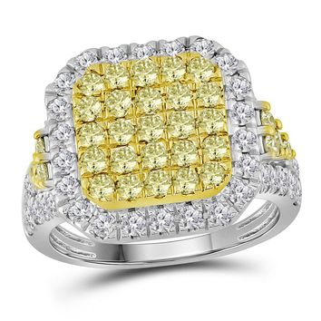 14kt White Gold Womens Round Natural Canary Yellow Diamond Square Cluster Ring 2-1/3 Cttw