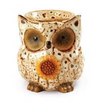 Owl Electric Ceramic Tart Candle Warmer (White Spotted)