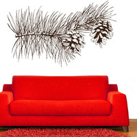 Pine Cones and Tree Branch Vinyl Wall Decal Sticker Graphic