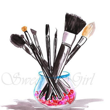 Makeup brushes, Fashion art, Coco chanel, logo, printable, Beauty, print, wall art, home, bathroom decor, gift for her, poster, cosmetics,