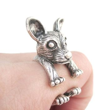 3D Chihuahua Dog Shaped Miniature Animal Ring in Silver