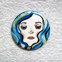 BlueHaired Beauty 225 Art Illustration Round Pocket by sacari