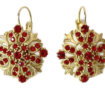 Ruby Red Rhinestone Earrings  Gold Tone, Red Rhinestone Earrings, Ruby Rhinestone Earrings, Garnet Rhinestone Earrings, Rhinestone Earrings