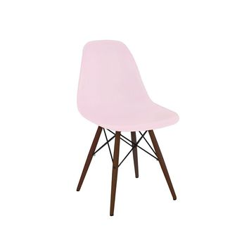 Trige Baby Pink Side Chair with Walnut Wood Base (Set of 2)