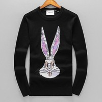 GUCCI Fashion Men Women Cute Rabbit Sequins Long Sleeve Sweater Sweatshirt Black
