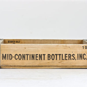 Vintage Soda Crate, Wood Crate, Wood Pop Crate, Mid-Continent Bottlers Soda Crate, Old Soda Crate, Wooden Crate, Industrial Decor