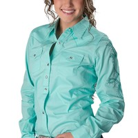 Wrangler® Women's Solid Turquoise with Rhinestones & Embroidery Long Sleeve Western Shirt