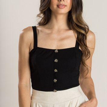 Ruth Black Button Crop Top