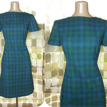 Vintage 60s Dress | 1960s Mini Dress | Blue & Green Tartan Plaid | Wool Scooter Dress | MOD Size M/L