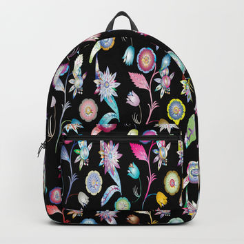 Deep Colorful Floral Pattern Backpack by kasseggs