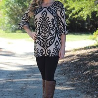 Take The High Road Tunic: Black/Taupe - Lavish Boutique