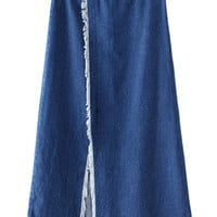 Blue Frayed Trims Split Front Midi Denim Skirt