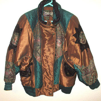 Vintage East West Puffer Jacket Southwestern Sun Metallic Bronze Teal Size Small Puffer Coat