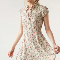 Kimchi Blue Rosebud Button-Down Floral Ivory Dress - Urban Outfitters