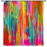 Window Curtains Unlined from DiaNoche Designs Artistic, Stylish, Unique, Decorative, Fun, Funky, Cool by Jackie Phillips Neon Double Abstract