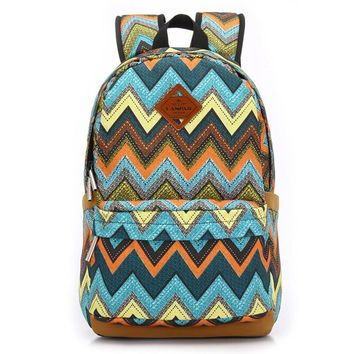 women s canvas chevron backpack school bookbag travel bag 2