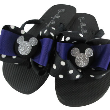 Purple Disney Flip Flops with Glitter Bling Mickey