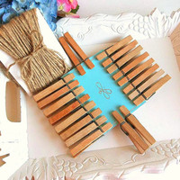 Wood Tea Stained Clothespins Hemp cord twine set 20 pins 30 ft hemp clips banner DIY rustic crafts photo display party bunting wedding