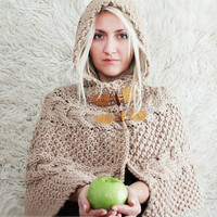 Hand Knit Hooded Poncho by LoveandKnit on Etsy