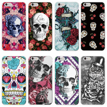 Rockabilly Pink Rose Skull Pattern Soft TPU Clear Phone Case Fundas Coque For iPhone 7 7Plus 6 6S 6Plus 5 5S SE 5C 4 4S SAMSUNG