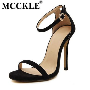 MCCKLE Fashion New Hot Summer Sandals Women Shoes High-Heeled Ankle Strap PU+Suede Par