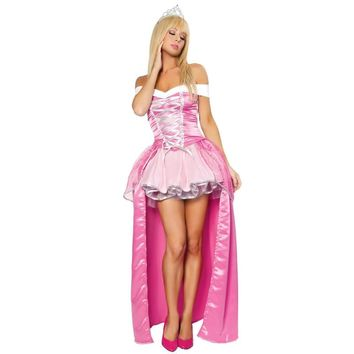 Women Sexy Sleeping Beauty Aurora Costume Princess Peach Dress Halloween Cosplay Outfit