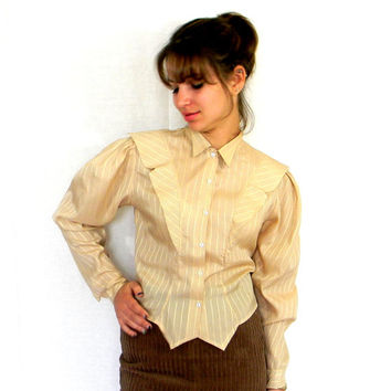 50s Tuxedo Blouse. Vintage Silky Blouse. Mad Men Fashion. Striped Beige Gold. Fall Fashion.