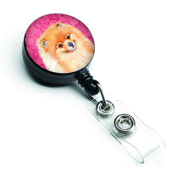 Pink Pomeranian Retractable Badge Reel LH9395PKBR
