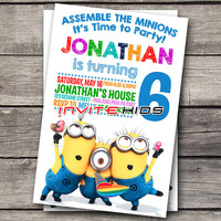 Minions Time Party Kids - Invitation Card - Birthday Party Kids - InviteKids