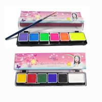 Body Paint 6 Colors Set White Black Red with Brush Model Paint Makeup Pigment Christmas Water Based Fluorescent UV Face Painting