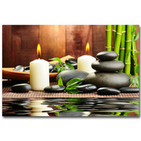 ZEN Stone and Bamboo Meditation Art Silk Poster Huge Print 13x20 24x36 inch Buddha Picture for Room Wall Decor